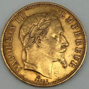 50 francs or Napoleon Or 1865 A