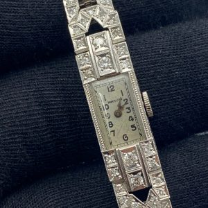 Montre art deco Montano platine et diamants achat or