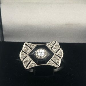bague art deco or & platine taille ancienne achat or