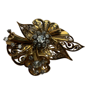 Broche Or 18K 31grs et 2 diamants de 1 carats et 17 de 0,12 carats