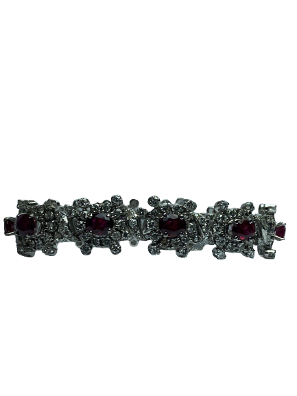 Bracelet Or 18K 38grs diamants et grenats