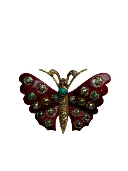 Broche Papillons perles, diamants, email Or 18k 13 grs