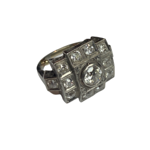 Bague Art deco Platine diamant centre 0,6 carats