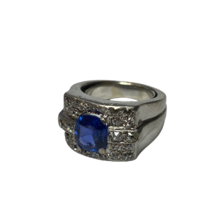 Bague Art deco saphir Birmanie Naturel